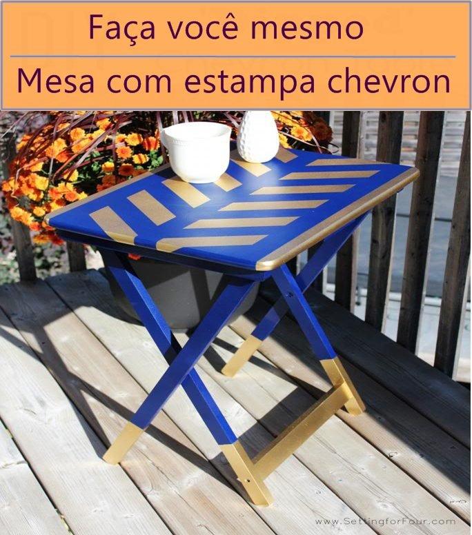 mesa com estampa chevron